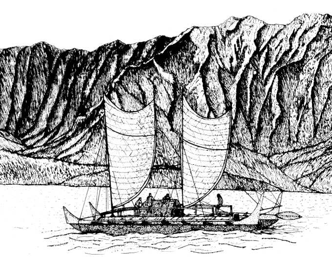 Na pali and Hawaiian voyaging canoe